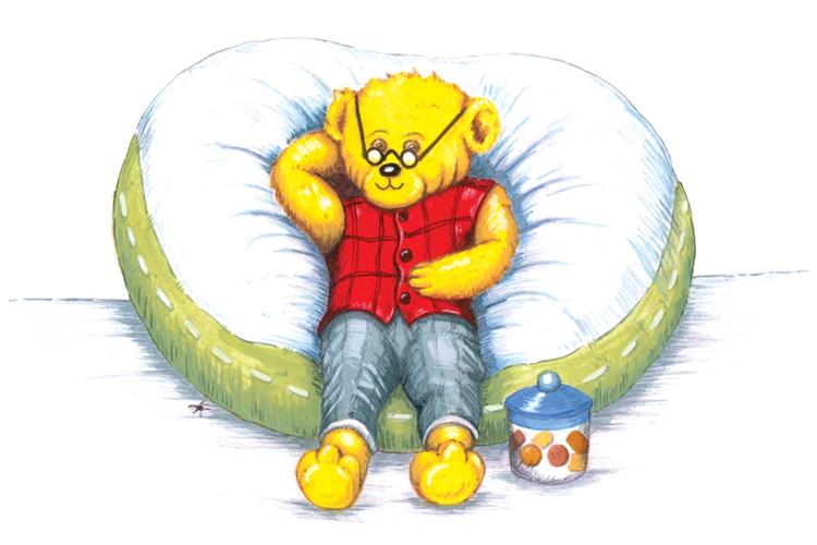 Der Bär Northwick ruht sich auf einem Kissen aus.