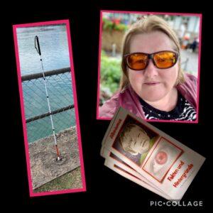 Das Bild zeigt eine Collage aus drei Fotos: Man sieht einen Langstock, Flyer mit dem Wort Albinismus und auf dem letzten Foto eine Frau mit blonden Haaren und Kantenfilter-Brille