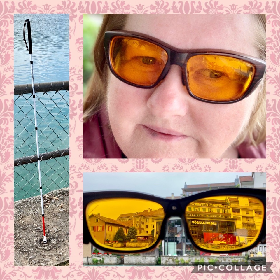 Das Bild zeigt eie Collage. Links ist ei Blindenstock zu sehen. rechts ist eine Dame mittleren Alters mit Kantefilter-Gläsern zu sehen. Darunter ist noch ein Foto, dass eienen subjektiven Blickwinkel aus Kantenfilter-Gläsern auf eine Straße zeigt.