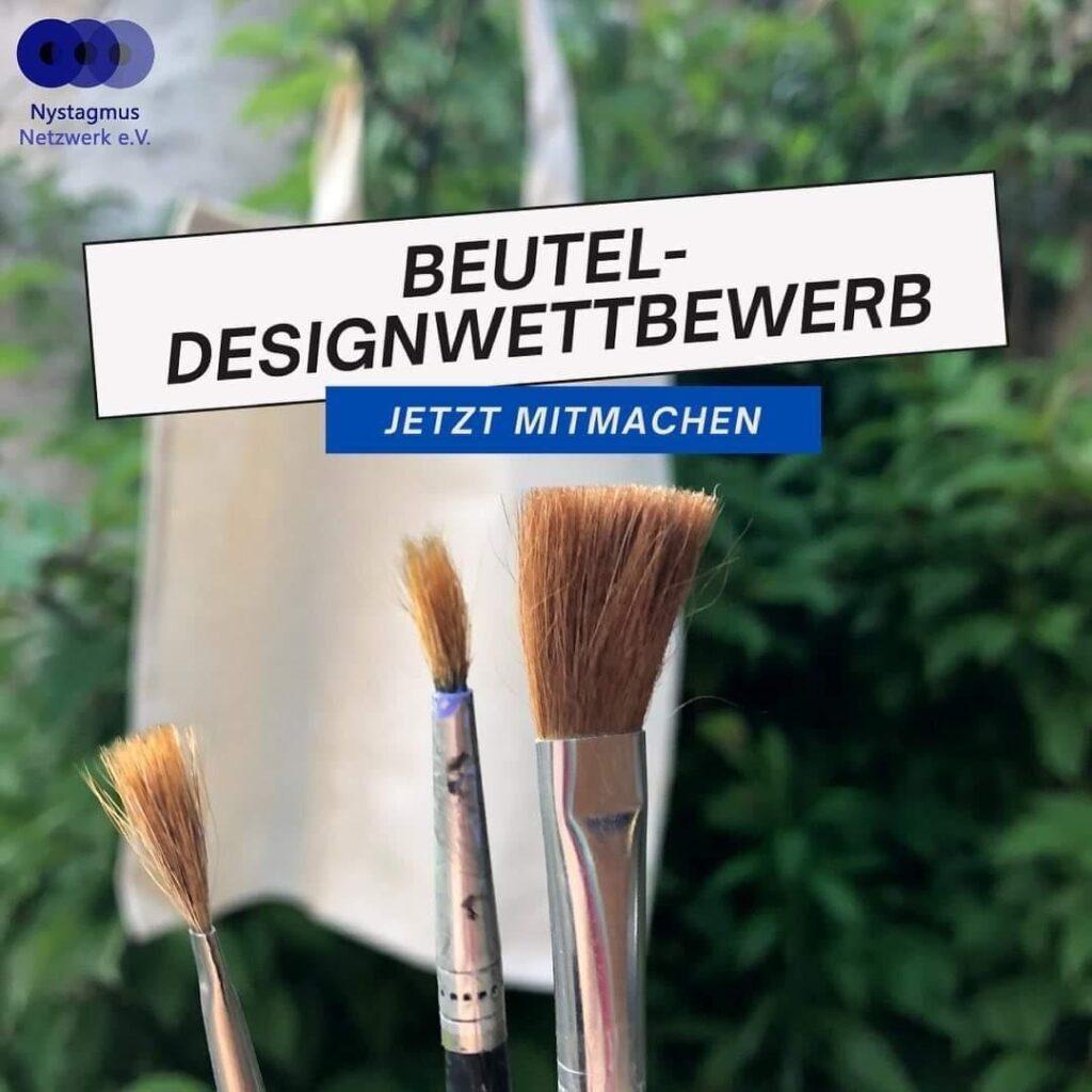 Auf dem Bild sind ein Beutel und Pinsel zu sehen. Darüber steht groß: Beutel-Designwettbewerb, jetzt mitmachen!